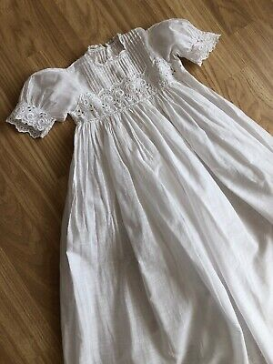 Antique French Fine Christening Gown Dress Fine Lawn Hand Embroidered Quality