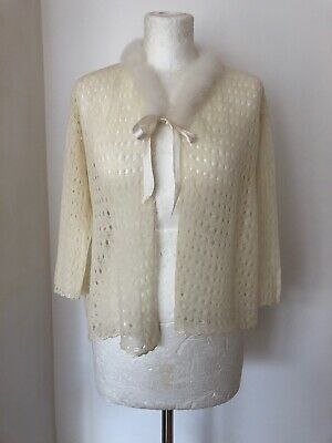 Vintage 1930s 1940s Fine Knitted Cream Bed Jacket with Marabou Feather Trim