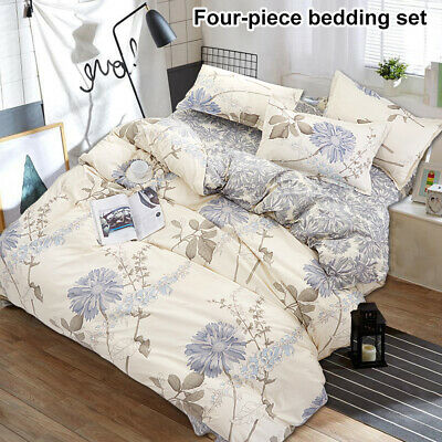 Luxury 4 Piece Bedding Set Fitted Sheet Quilt Duvet Cover Pillow case 3 size NEW