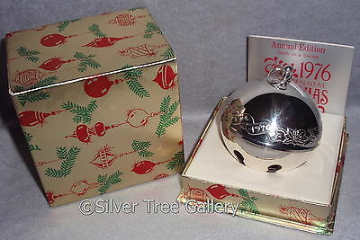MIB 1976 Wallace 6th Annual Silver Plate Sleigh Bell Xmas Ornament Decoration