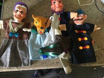 Set Of 5 Vintage Punch And Judy Hand Puppets