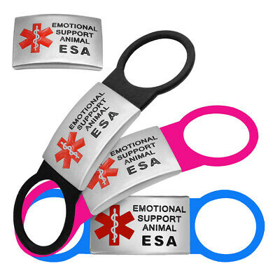 Emotional Support Dog Tags Slide-on ESA Animal Service Pet Collar Tag No Noise