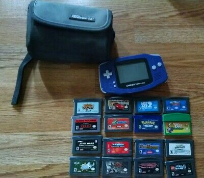 Nintendo Game Boy Advance Console AGB-001 + 16 Games lot Pokemon Sapphire Zelda