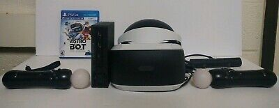Sony PlayStation VR PS4 PSVR Bundle W/ (2)Controls/Charger, Camera and (2)Games