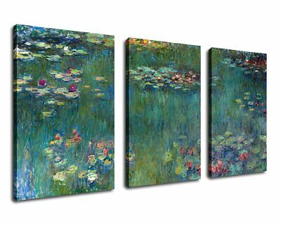 "Canvas Wall Art Water Lilies By Claude Monet Painting Prints - 20"" X 30"" X 3 Pie"