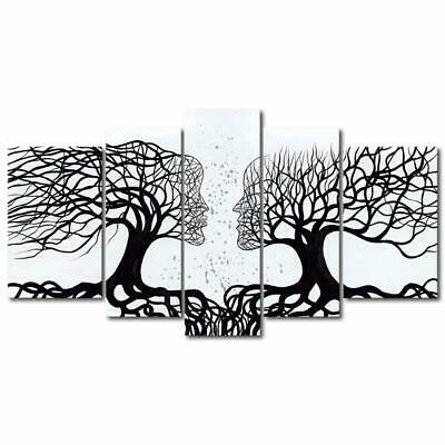 Wieco Art Wind Floating Tree 5 Piece Large Modern 100% Hand Painted Artwork Gall