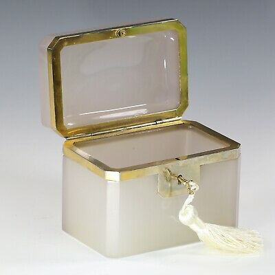 Antique French jewelry Casket neutral pink opaline glass box bronze working lock