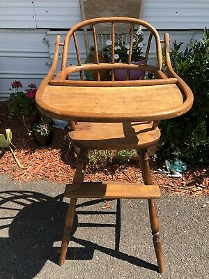 Antique Early Piece Wood High Chair Bentwood