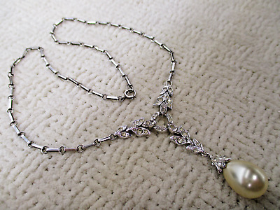 Rare Trifari Sterling Sil Dangle Drop Necklace Designer Deco Vtg Hi End Jewelry