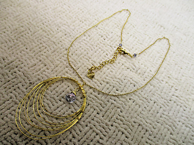 Nakamol Crystal Drop Pendant Yellow Gold Necklace Designer Signed Estate Jewelry