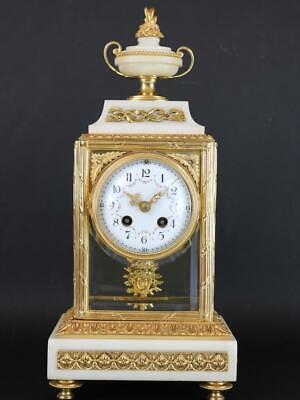 ANTIQUE FRENCH 4 GLASS CRYSTAL REGULATOR MANTEL CLOCK by A.D.MOUGIN gilt ormolu