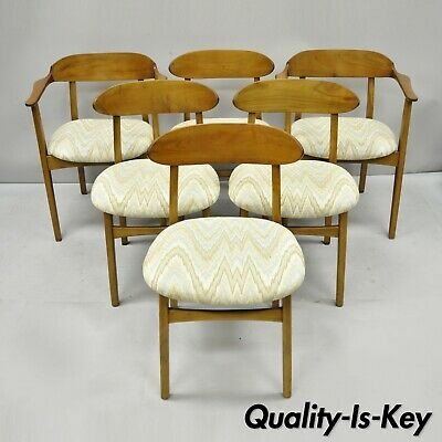 Six Vintage Mid Century Modern Sculpted Walnut Barrel Back Dining Room Chairs