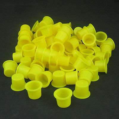 100PCS Tattoo Ink Caps Small Plastic Cups for Tattooing FES