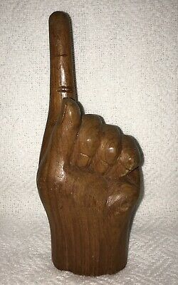 Vintage carved wood hand number one finger up statue figure wooden folk art