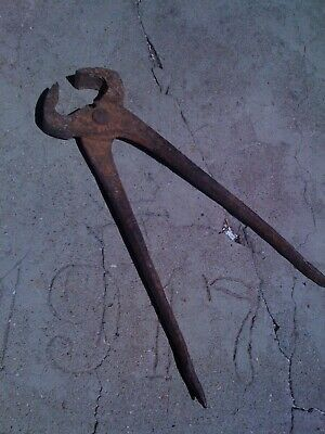 Hand Forged Wrought Iron Nippers ~old, rusty, blacksmith, antique, tool