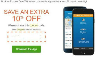10% off Express hotel Deal Priceline promo code coupon expires 9/1  MUST USE APP