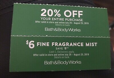 2 Bath & Body Works Coupons 20% Off + $6 Fragrance Mist Exp 8/25/2019