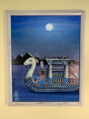 "Original Ancient Egyptian Painting ""Dream Boat"" Oil On Canvas"