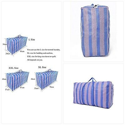 JRing Jumbo Laundry Bags Zipped, 3 Pack Blue Stripe Large Laundry Storage Shoppi