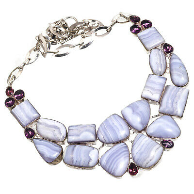 Blue Lace Agate African Amethyst Necklace 925 Silver Plated Jewelry Sz16-18""