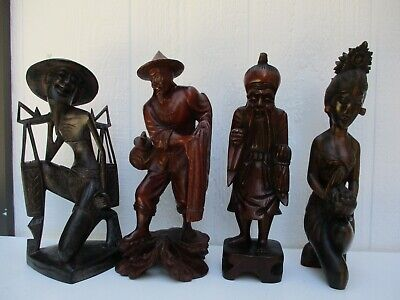 4 VTG Asian Oriental Detailed Hand Carved Wood Figurines