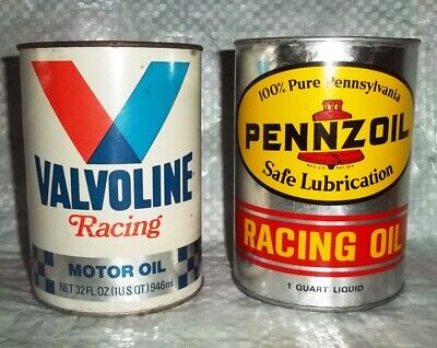 FULL NOS Vintage Valvoline & Pennzoil Special Racing MOTOR Oil Cans Qt Sinclair