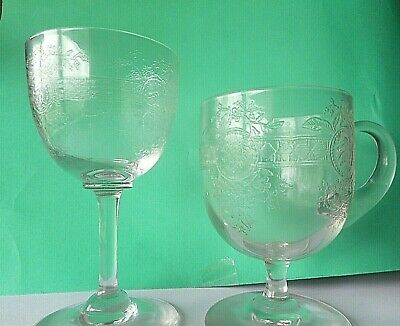 GLASS CUSTARD CUP/HANDLE, AND SHERRY GLASS, FUCHSIA / FOLIAGE ETCHED BAND.c 1910