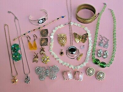 23 Piece Vintage Jewelry Lot, Crown Trifari, Sterling, Crystal, Shell, Copper