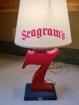 Vintage SEAGRAMS 7 Red Plastic Table Lamp and shade