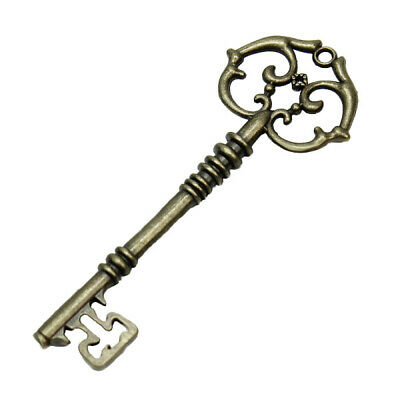 Fashion Vintage Old Look Skeleton Key Bow Charm Jewelry Accessory Gift Unisex f