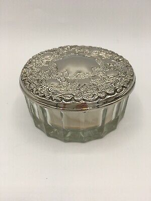 Ornate Vintage Silverplate And Glass Powder Jar With Mirror And Powder Puff