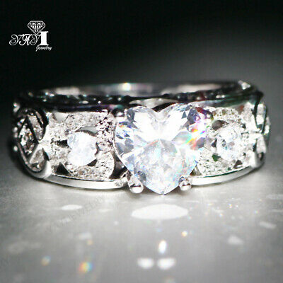 925 Silver Filled White Sapphire  Birthstone Engagement Wedding Ring Band size 7