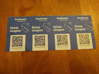 (4x) Southwest Airlines Coupons Drink Beverage Voucher Exp 8/31/2020.