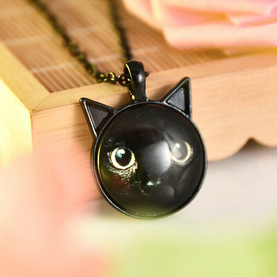 Painting Black Cat Necklace For Pet Lovers Cat Pendant With Ears Jewelry Punk