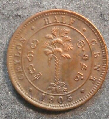 Ceylon 1905 KEVII    Half  1/2   Cent  Coin  High  detail and Grade