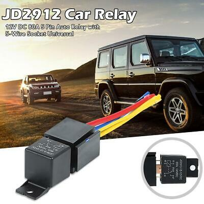 JD2912 Car Relay 12V DC 80A 5 Pin Auto Relay with 5-Wire Socket Universal