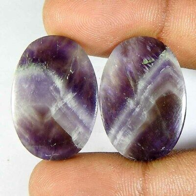 35.20Cts100%Natural Amethyst lace agate Oval/pair Cabochon Gemstones