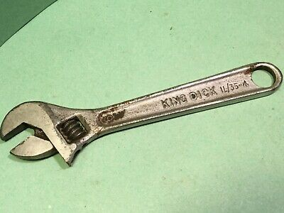 "Vintage adjustable spanner King dick IL/35-war arrow stamp,6"".Classic car tool"
