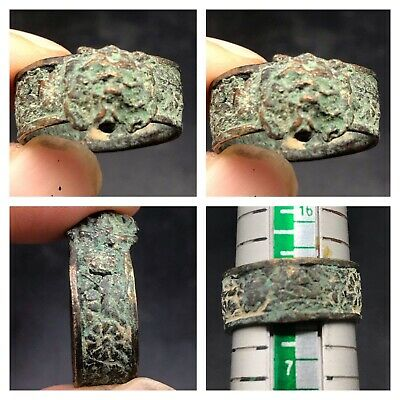 Beautifull Roman Bronze Lion Head Old Ring With Carviing
