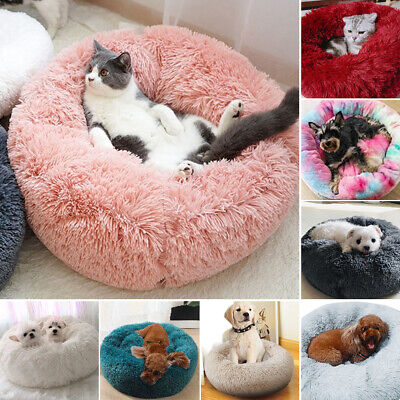Pet Dog Cat Calming Bed Warm Soft Plush Round Nest Comfy Sleeping Kennel Cave M