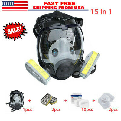 15 in 1 Full Face Facepiece Respirator Painting Spraying Gas/dust Mask For 3M
