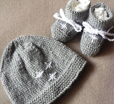 Beanie & Booties Set, Boy/Girl, Hand-Knitted By Me. Grey With Stars. Extra Soft.