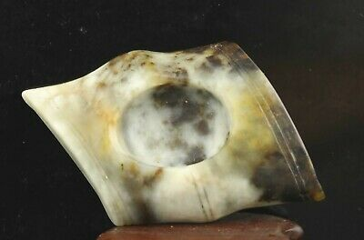 Chinese old jade hand-carved statue flower brush washer 2.5 inch