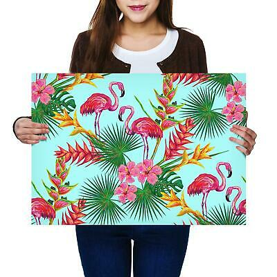 A2 | Tropical Flamingo Flowers Jungle Size A2 Poster Print Photo Art Gift #2708