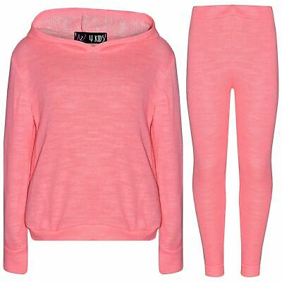 Kids Girls Tracksuit Plain Neon Pink Hooded Top & Fashion Legging Set Loungewear