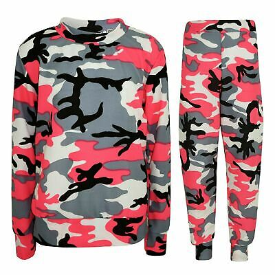 Kids Girls Tracksuit Camouflage Neon Pink Hooded Top & Legging Loungewear Outfit