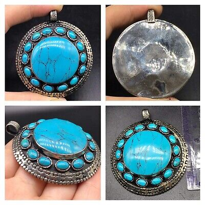 Beautifull Old Tabtian Tourquise Stone Mix Slivr Round Pendent