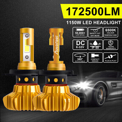 H4 9003 LED Headlight Globes Bulbs 1150W 172500LM Hi Lo Beam Driving 6500K White