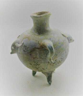 Very Rare Ancient Phoenician Green Glass Vessel With Depiction Of Bull Head