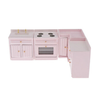 1:12 Kitchen Cabinet Stove Sink Furniture Pink Dolls House Miniature Decor